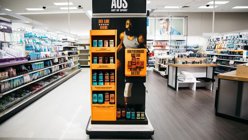 An Art of Sport display at a Target store, featuring NBA star James Harden.