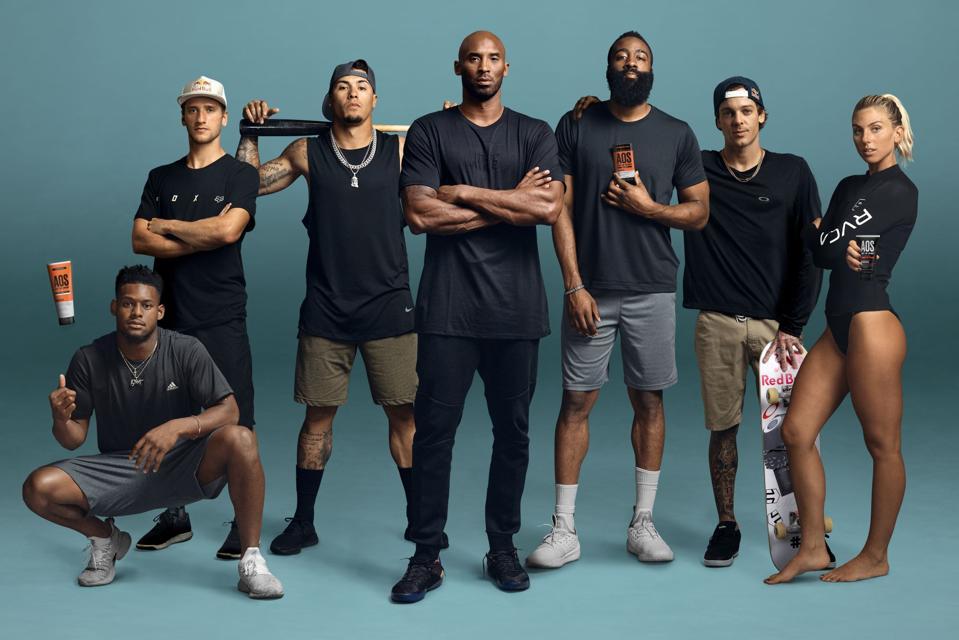 Kobe Bryant, center, and other athlete investors/ambassadors of the Art of Sport brand, from left, Juju Smith-Schuster, Ken Roczen, Javier Baez, James Harden, Ryan Scheckler, Sage Erickson.