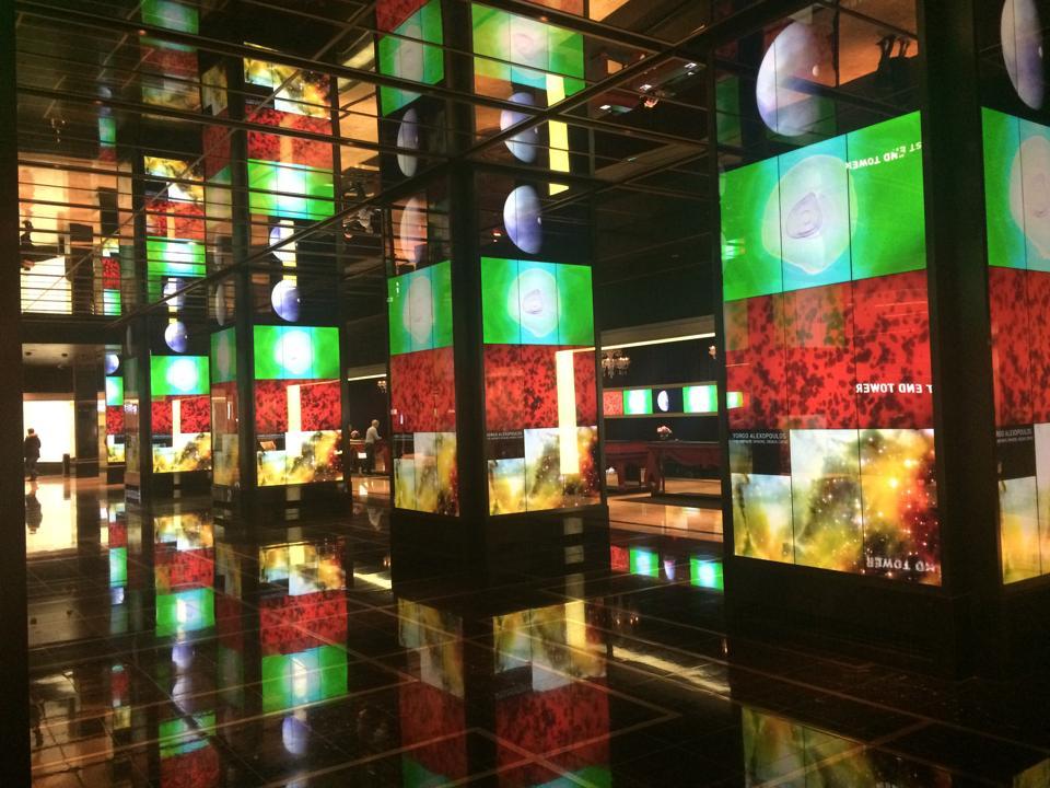 Dazzling lobby bar of Cosmopolitan Hotel in Las Vegas.
