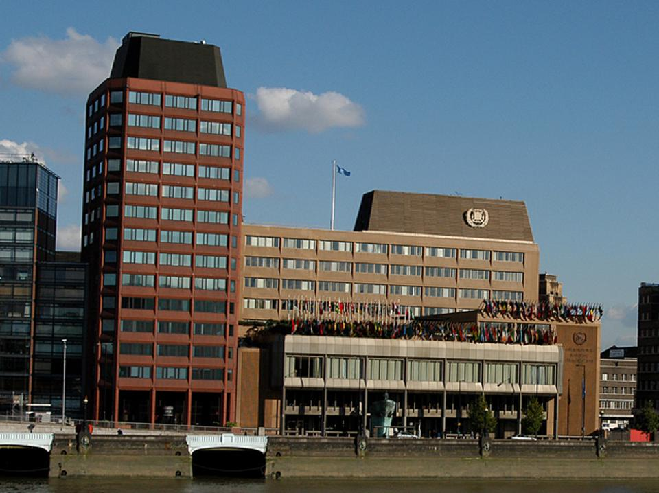 Headquarters of the International Maritime Organization on the River Thames in London, UK