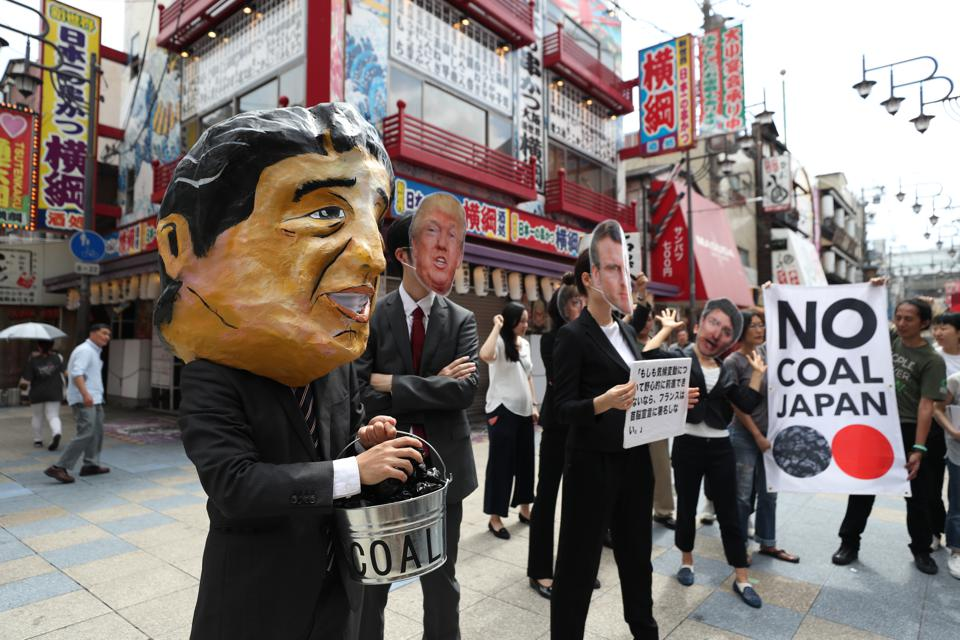 Jun 2019: protestors in Osaka, Japan outside the G20 meetings, protesting against the stance of leaders in Japan, US, France, Canada on climate change