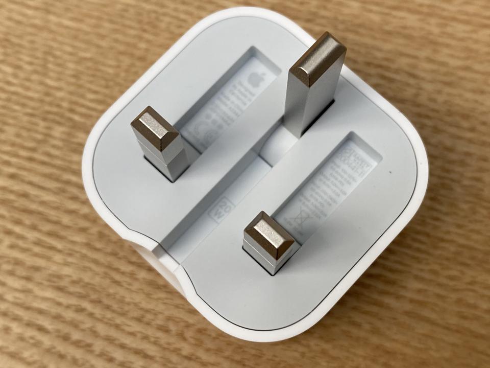 The cool folding-pin plug on the U.K. iPad Air.