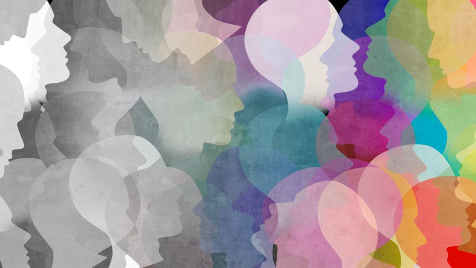 Abstract artistic collage of head and face silhouettes representing diverse personalities