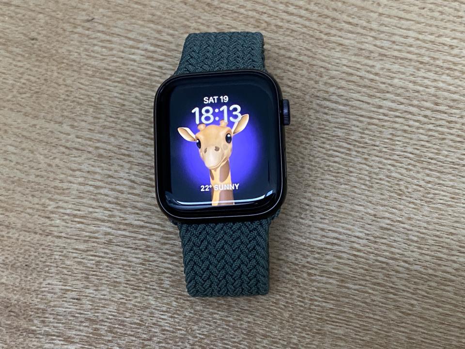 Apple Watch SE with cute Memoji gazing at you.