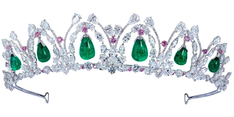 A with Colombian emeralds, pink diamonds and white diamonds by Moussaieff