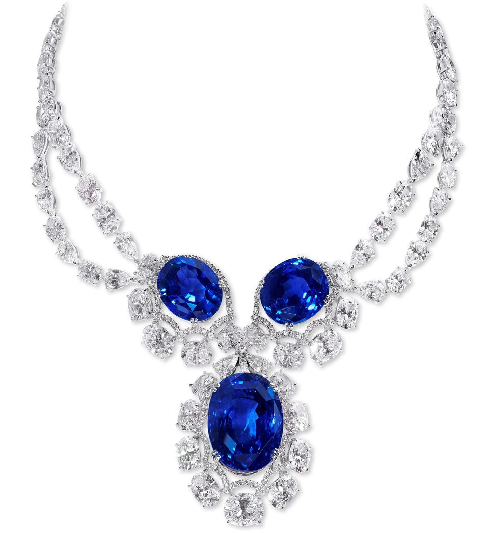High jewelry necklace with Sri Lankan sapphires and diamonds by Moussaieff