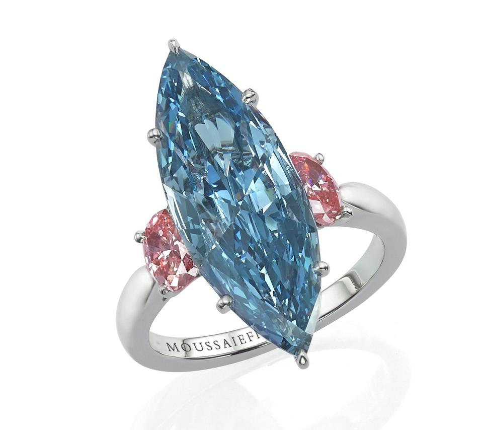 A ring with a 4.34ct fancy vivid blue marquise-cut diamond, by Moussaieff