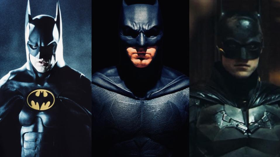 Micheal Keaton, Ben Affleck, and Robert Pattinson as Batman across the years