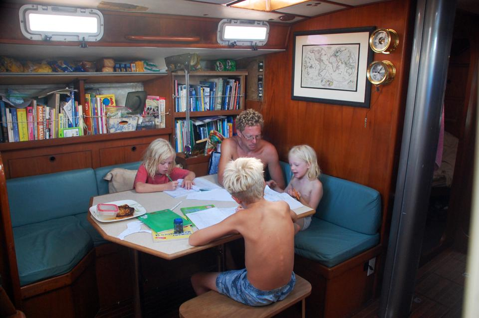 Gifford family homeschooling aboard Totem