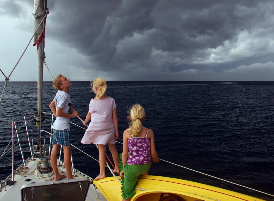 Kids preparing for a squall