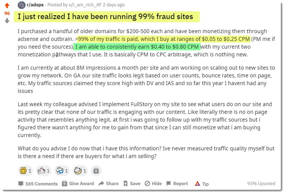 Reddit AdOps thread on 99 percent sourced traffic