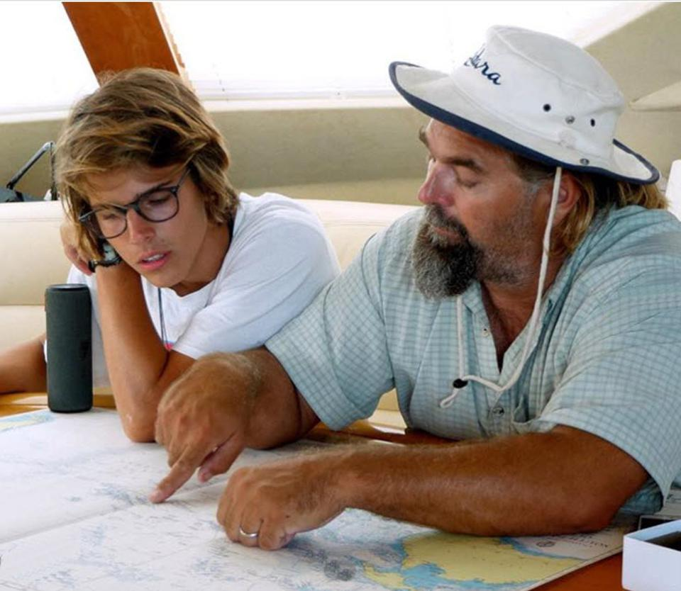 Jack and his dad Keith mapping out their course