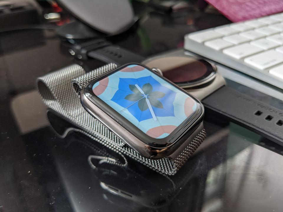 The Apple Watch Series 6 in stainless steel.