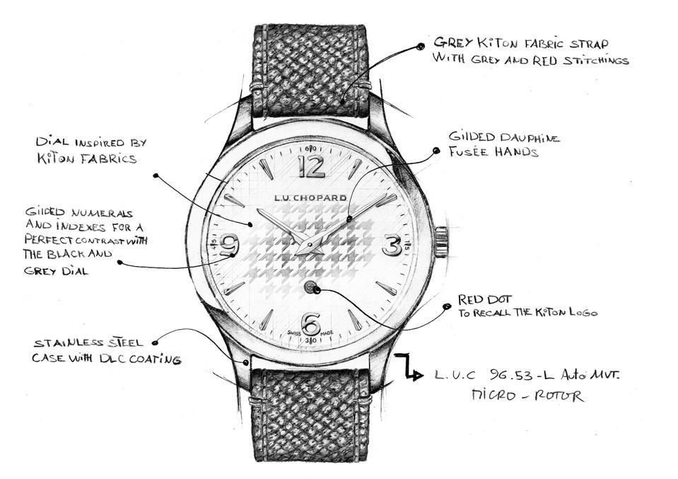 A detailed sketch of the Chopard L.U.C XP Il Sarto Kiton
