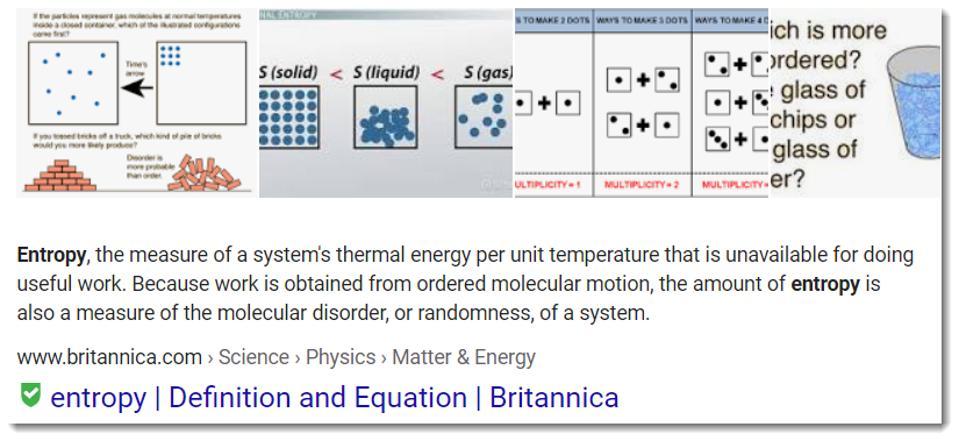 Screen shot - definition of entropy