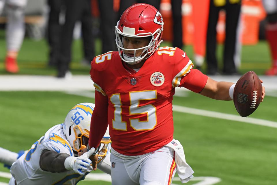 Patrick Mahomes runs for yardage against the Los Angeles Chargers.