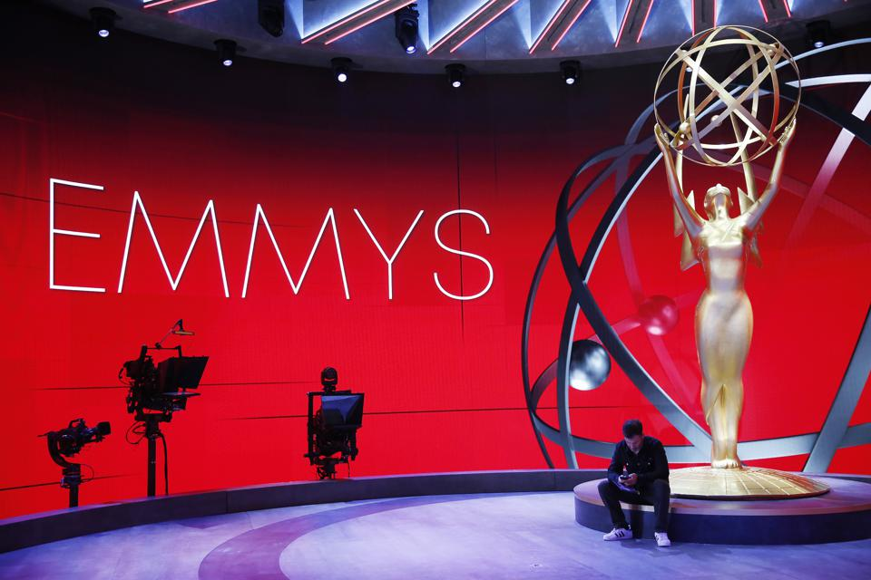 Emmy Host Jimmy Kimmel laughs with stage Manager Gary Natoli during rehearsals Friday for the 72nd Annual Emmy Awards taking place at Staples Center this Sunday.