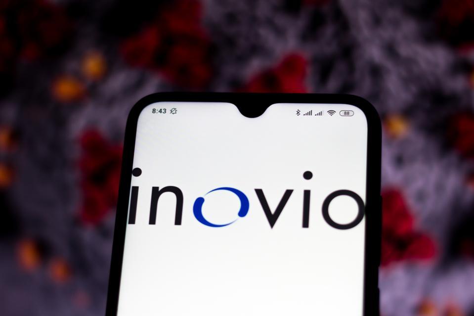 In this photo illustration Inovio Pharmaceuticals logo is...