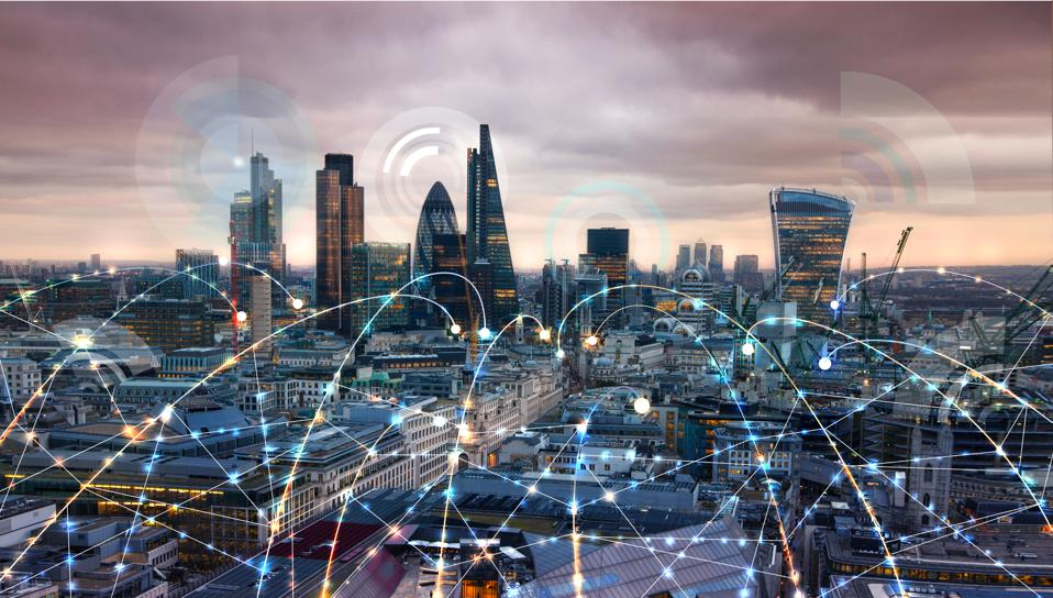 City of London at sunset. Illustration with communication and business icons, network connections concept.
