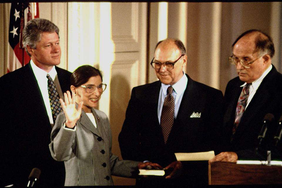 Justice Ruth Bader Ginsburg taking the oath of office.