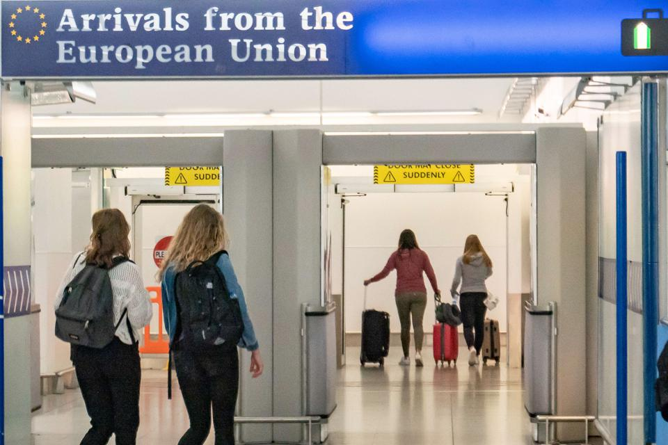 Arrivals from the EU at London's Stansted's airport