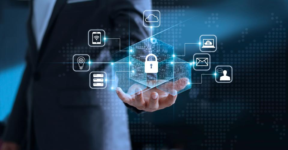 Data protection privacy concept with padlock and networking icons.