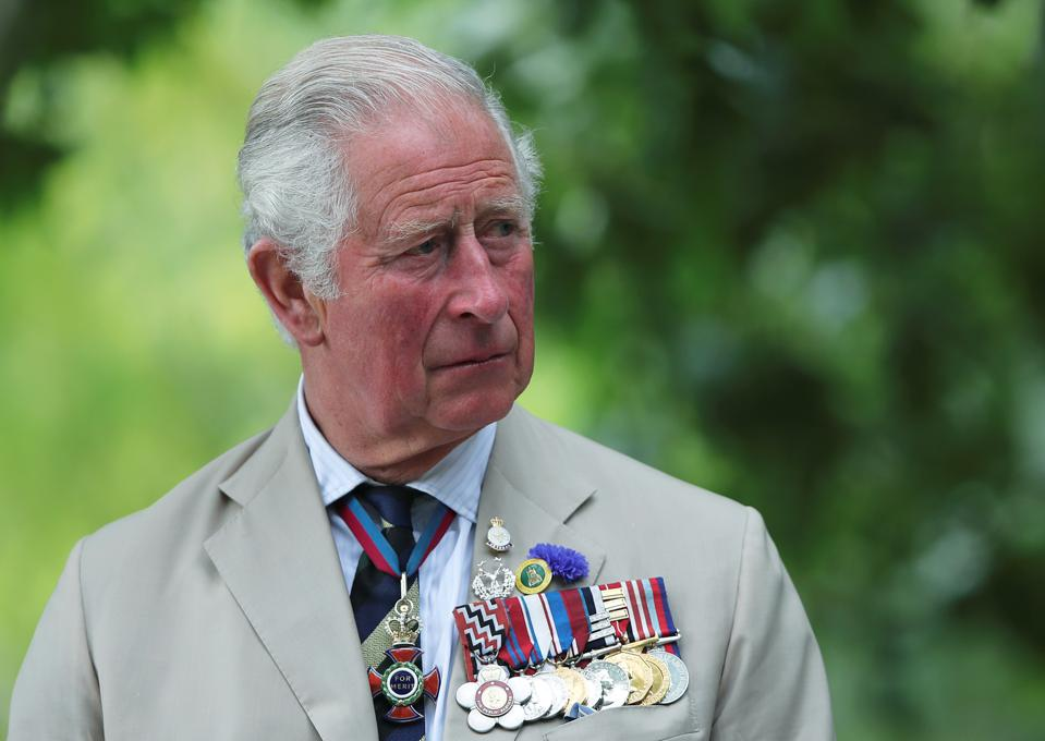 Prince Charles wearing his military service medals.
