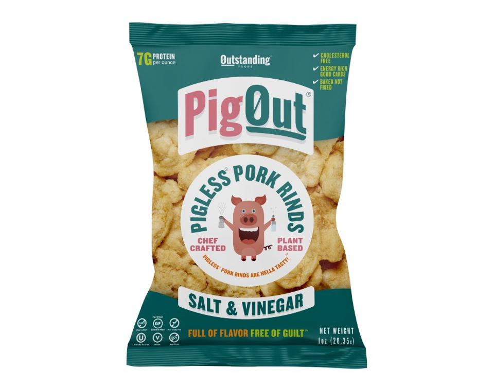 Outstanding Foods Pig Out Pigless Pork Rinds Salt and Vinegar