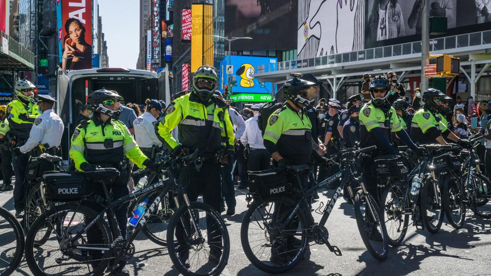 NYC Police stand guard during the Anti-Immigration and...