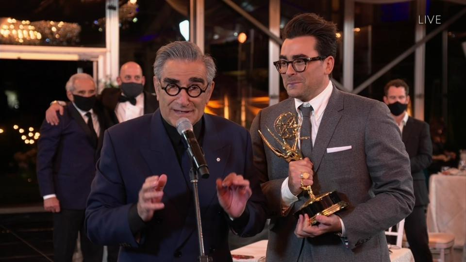 Eugene Levy and Daniel Levy winning at the 2020 Emmy Awards