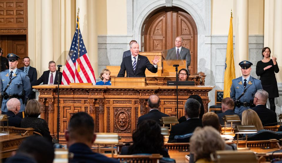 New Jersey Governor Phil Murphy delivering the 2019 New...
