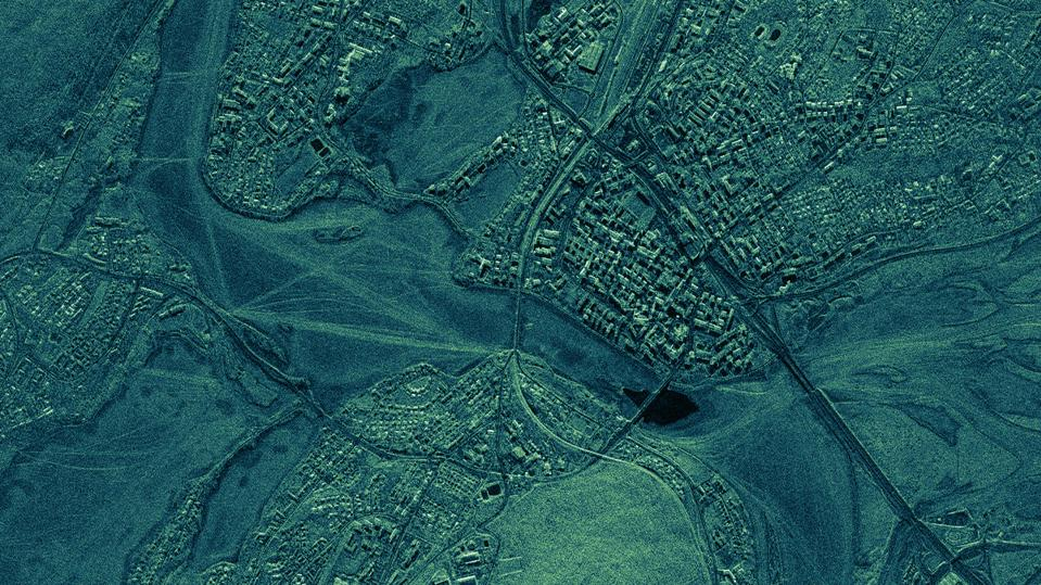 The city of Rovaniemi, Finland taken as a radar image from an Iceye satellite at a one meter resolution.