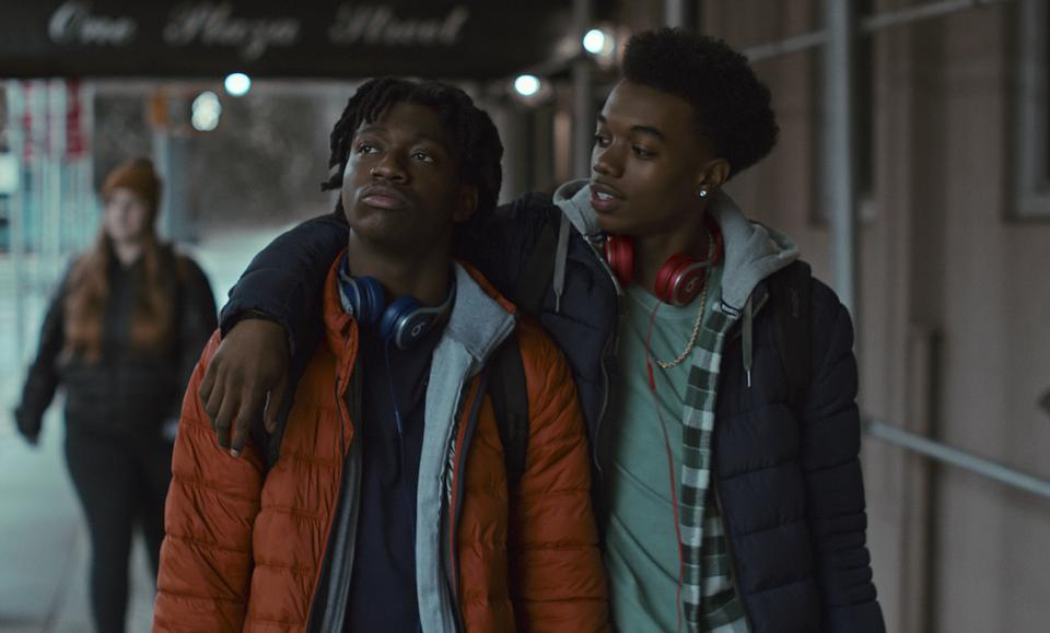 Jaden Jordan and Maliq Johnson in 'Grand Army' which was created by Katie Cappiello for Netflix.