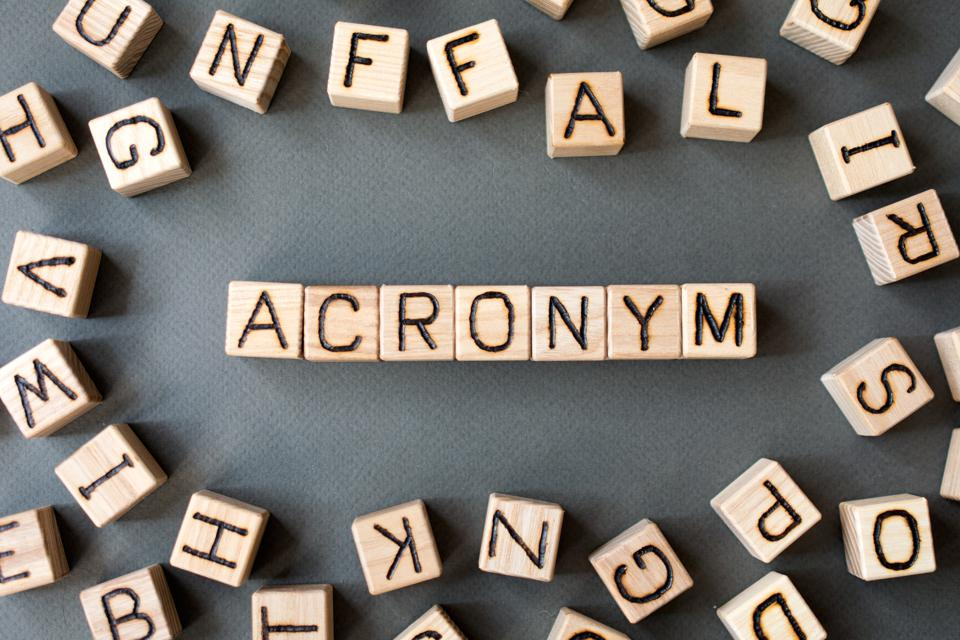 the word acronym in wooden cubes