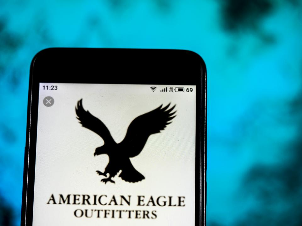 American Eagle Outfitters Clothing company logo seen