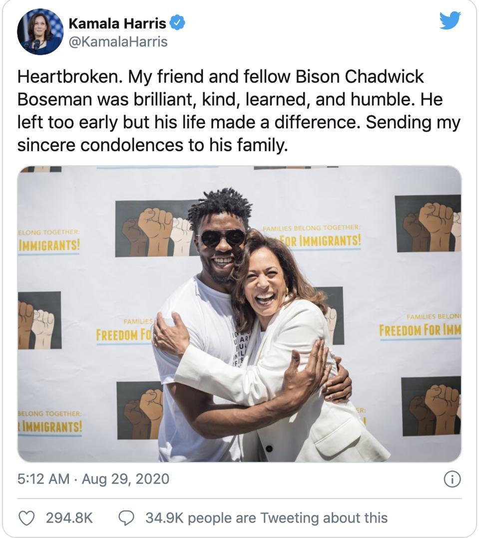 Kamala Harris sharing condolences for the loss of Chadwick Boseman