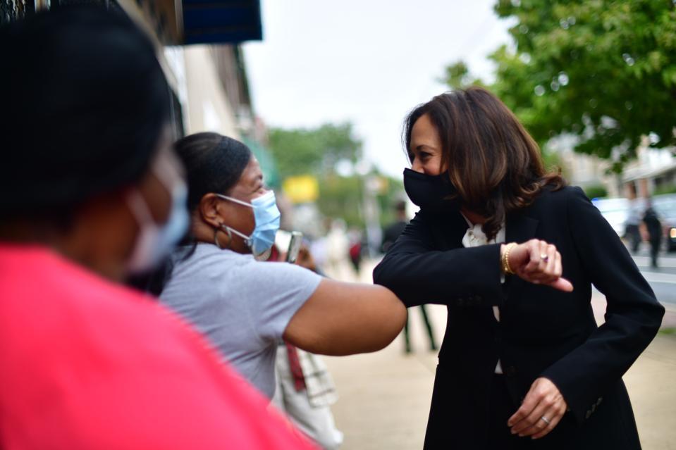 Democratic Nominee For Vice President Kamala Harris Campaigns In Philadelphia