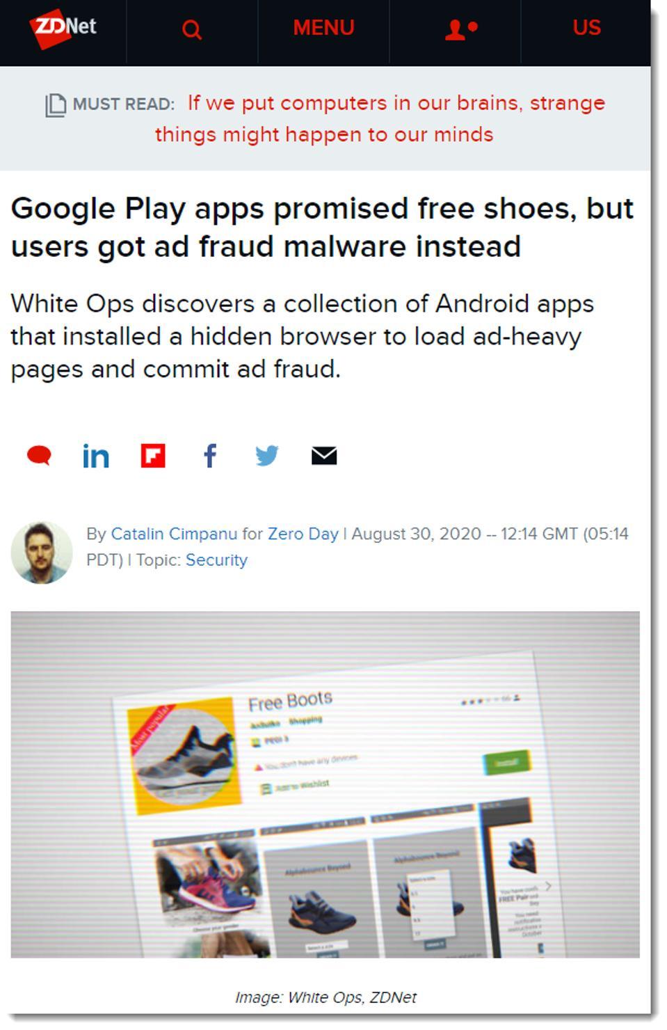screen shot ZDNet article