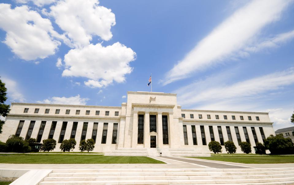 Low angle of the Federal Reserve Building in Washington, DC