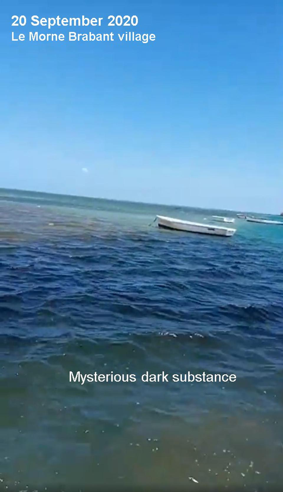 20 Sep 2020: video taken by local kitesurf instructor show the presence of  large amount of dark substances that have never been seen before in the heavily protected coral lagoons of Mauritius.