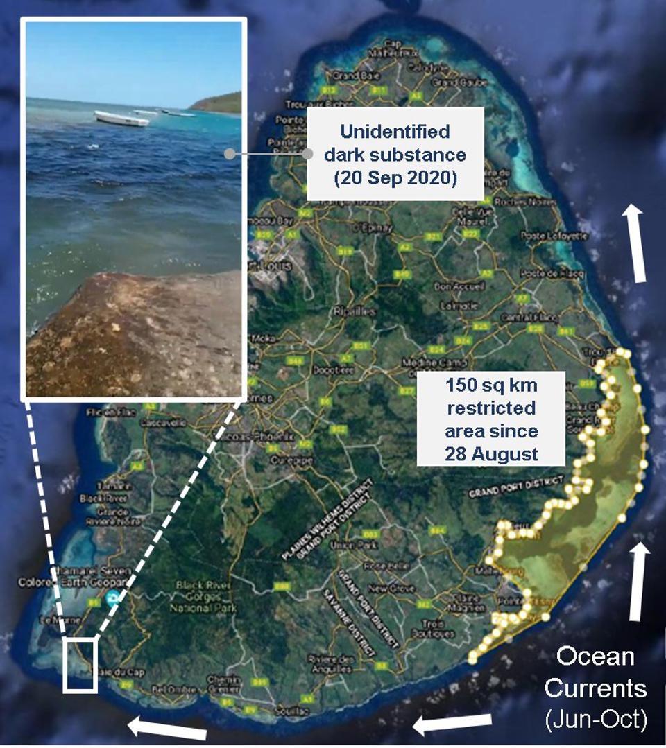 20 Sep 2020: location of the mysterious dark substance in the ocean, relative to the oil spill and wreck