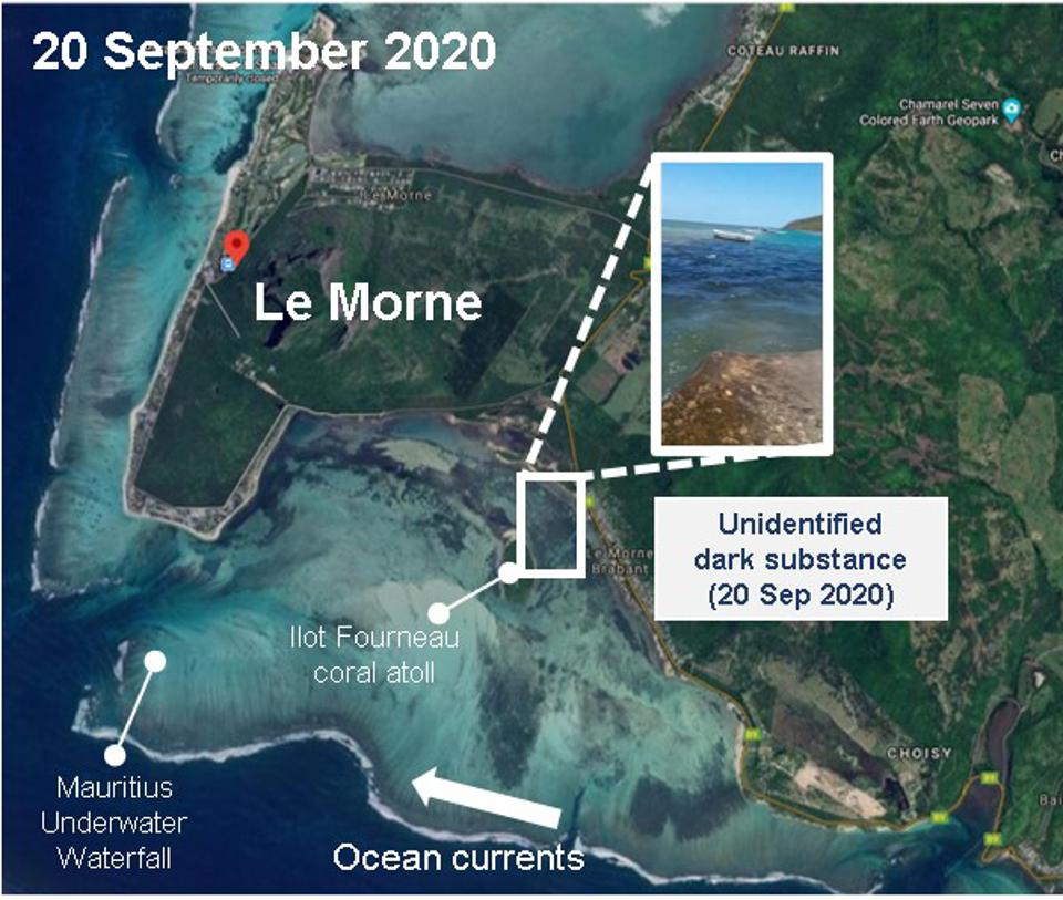 20 Sep 2020: close up of the location of the mysterious dark substance in the pristine coral lagoons of Mauritius.
