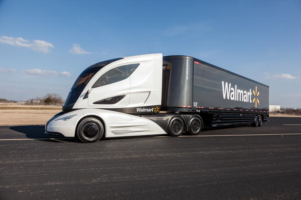 The Walmart Advanced Vehicle Experience tractor-trailer concept vehicle on the road.