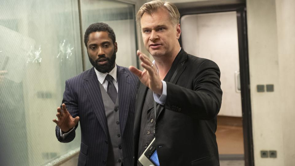 JOHN DAVID WASHINGTON and director/writer/producer CHRISTOPHER NOLAN on the set of Warner Bros. Pictures' action epic ″TENET″