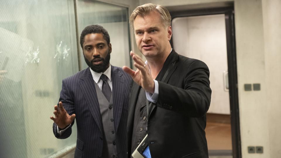 JOHN DAVID WASHINGTON and director/writer/producer CHRISTOPHER NOLAN on the set of Warner Bros. Pictures' action epic ″TENET″