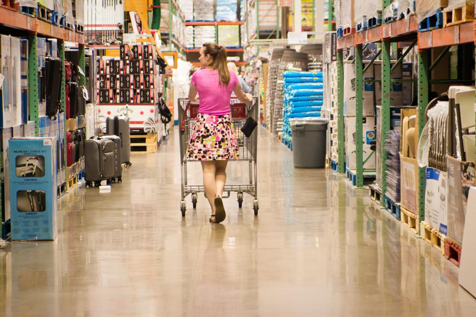 Woman in Big Box Store Shopping with Cart