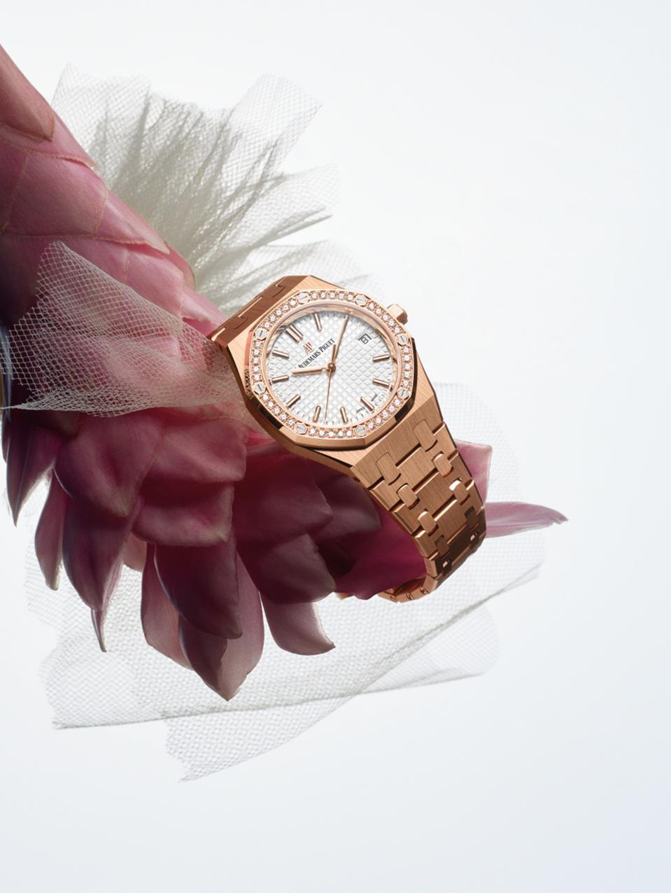 The new 34mm Royal Oak in 18k pink gold with a diamond bezel, but Audemars Piguet.