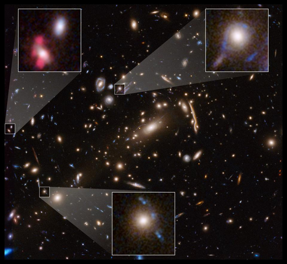 A Hubble image showcasing many of the lensed galaxies inside a massive galaxy cluster.