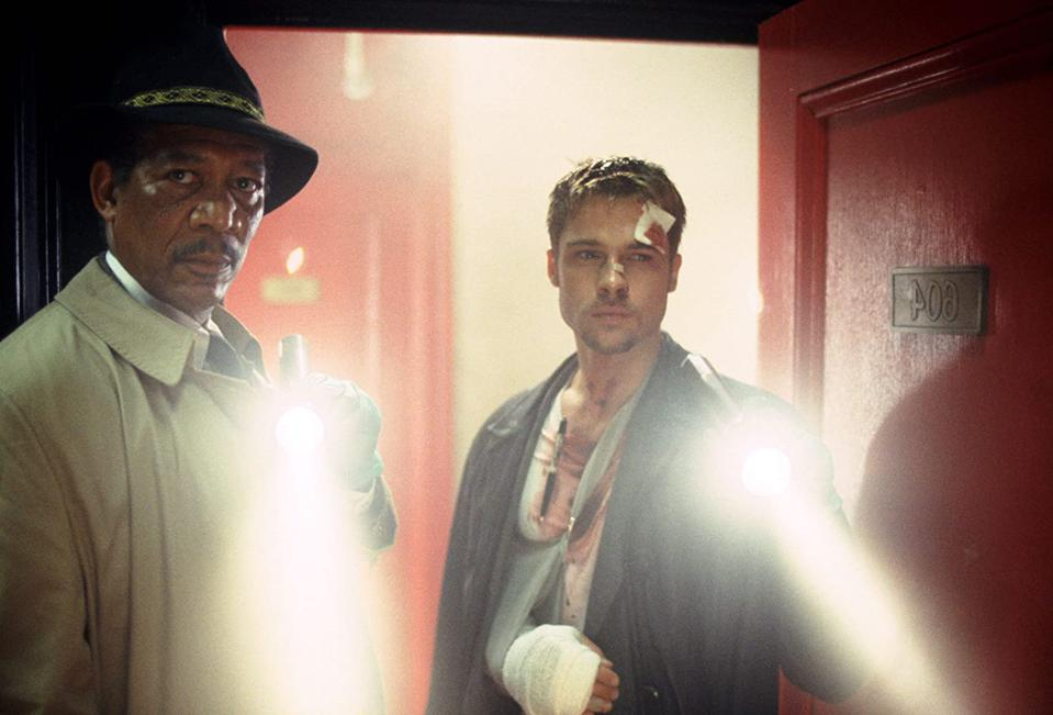 Morgan Freeman and Brad Pitt in David Fincher and Andrew Walker's 'Se7en'