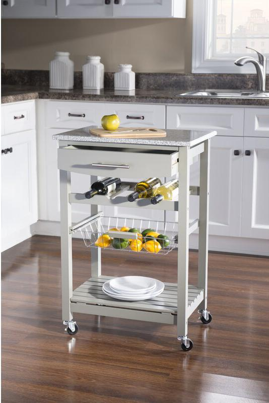 Winston Porter Macy Kitchen Cart With Granite Top